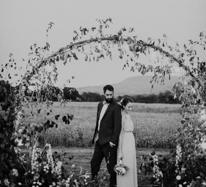 2.7m arch - outdoor ceremony with fixed lighting black and white
