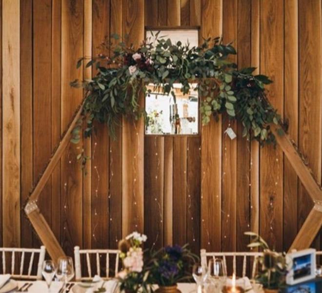 Wooden Hexagon - indoor behind top table