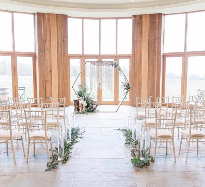 Wooden Hexagon - indoor ceremony macrame
